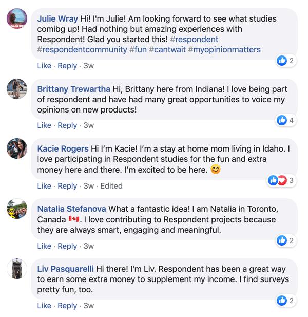 Respondent review: Facebook testimonials