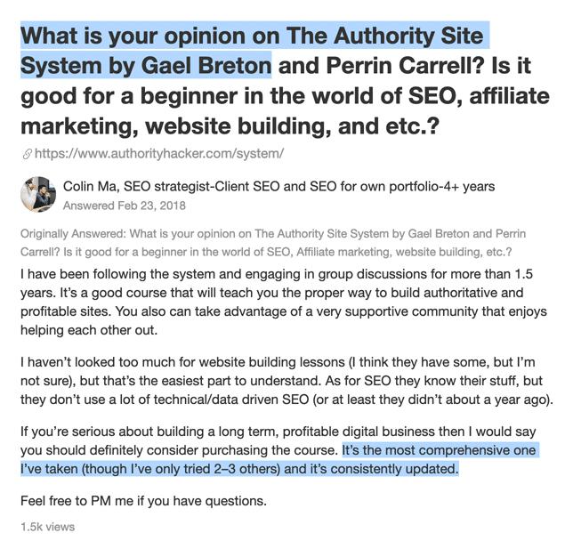 Authority Hacker testimonial Quora