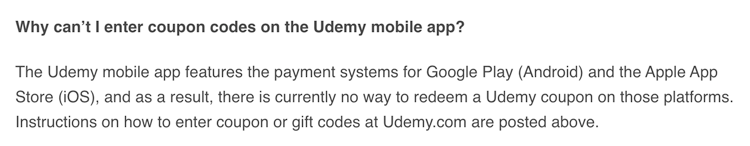 udemy coupon codes mobile app