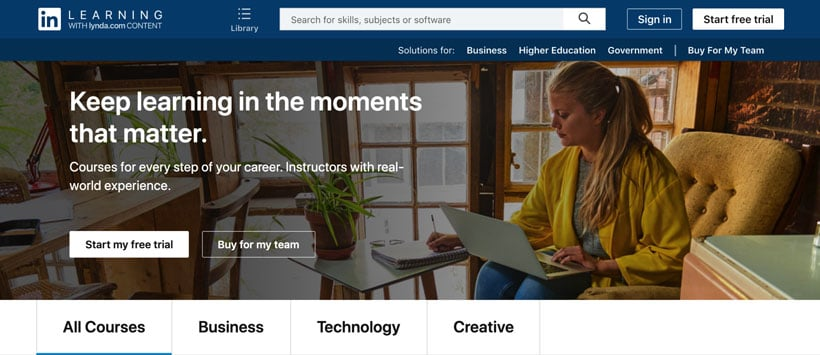 linkein learning homepage
