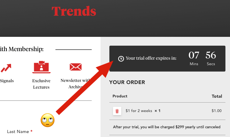 Trends fake countdown timer